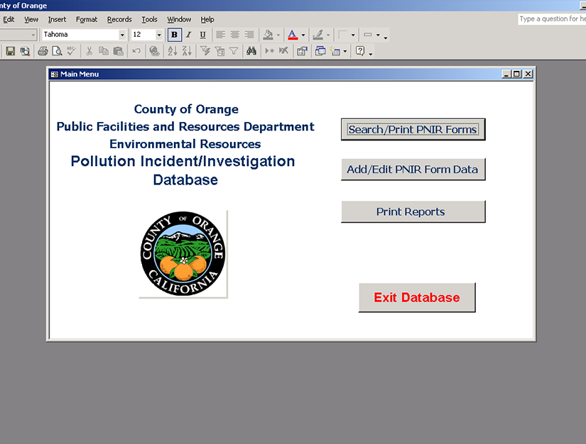 Database Upgrade Pollution Incident Database/Investigation Database